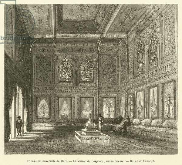 Exposition universelle de 1867, La Maison du Bosphore, vue interieure (engraving)