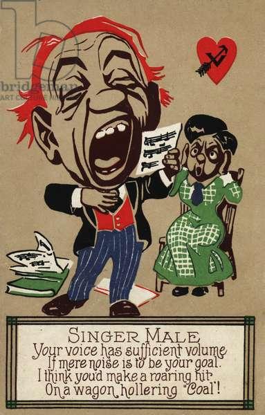 The male singer (colour litho)
