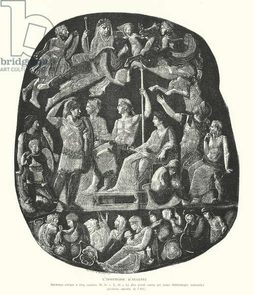 Roman onyx cameo depicting the apotheosis of the Emperor Augustus (engraving)