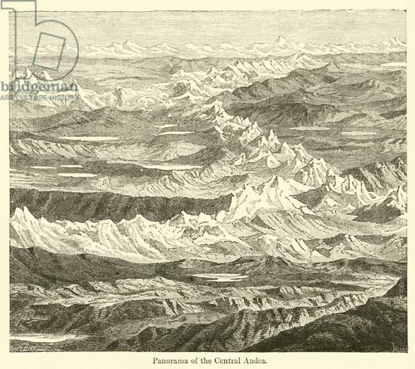 Panorama of the Central Andes (engraving)