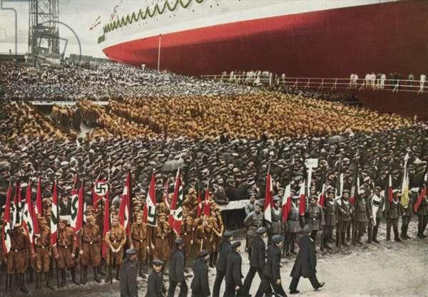Launch ceremony for the pocket battleship Admiral Scheer, Wilhelmshaven, Germany, 1933 (colour photo)