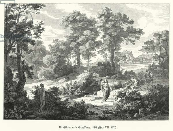 Nausicaa and Odysseus, scene from Homer's Odyssey (engraving)