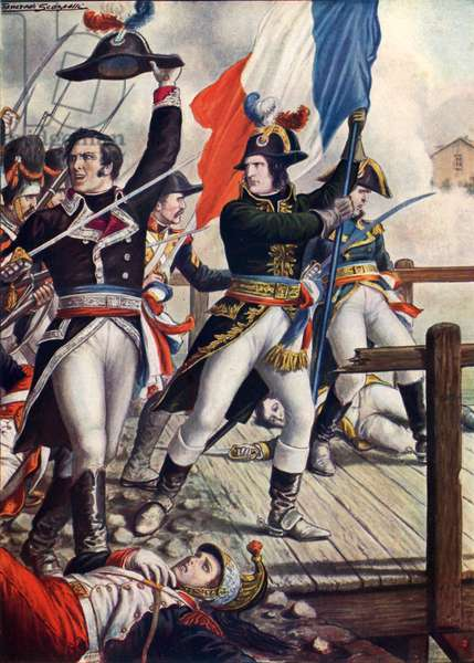 Napoleon Bonaparte at the battle of Arcole