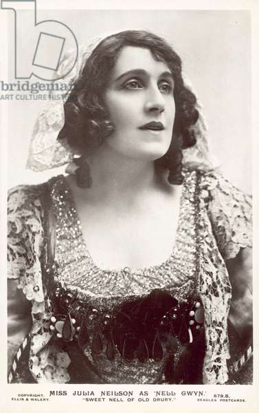 """English actress Julia Neilson as Nell Gwyn in """"Sweet Nell of Old Drury"""" (b/w photo)"""