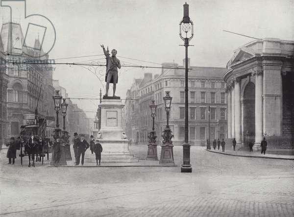 College Green, Dublin, with the Grattan Statue (b/w photo)