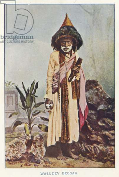Indian Natives: Wasudev Beggar (coloured photo)