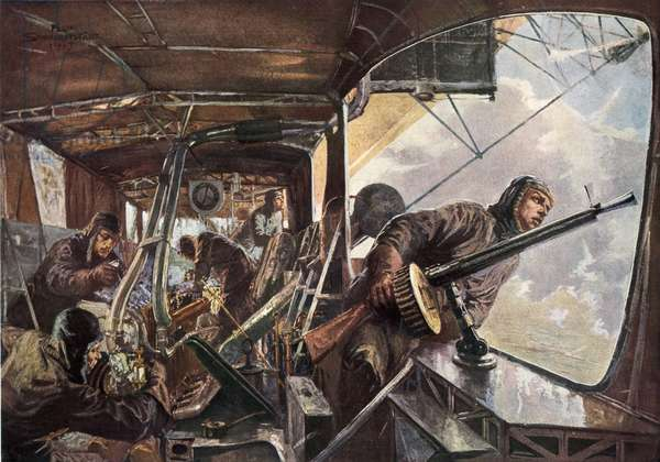 In the back of a Zeppelin while returning after a succesful attack on England (colour litho)