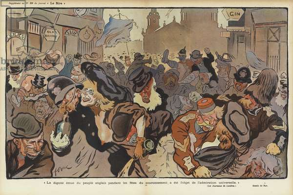 Celebrations in London for the coronation of King Edward VII, illustration for Le Rire (colour litho)