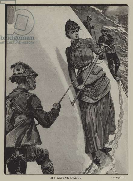 My Alpine staff: a woman mountaineer (engraving)