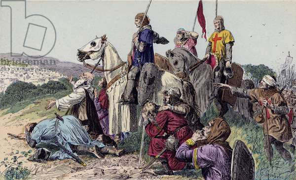 Arrival of the Crusaders before Jerusalem, 1099 (colour litho)