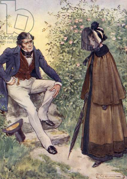 Jane Eyre meets Mr Rochester by the stile (colour litho)