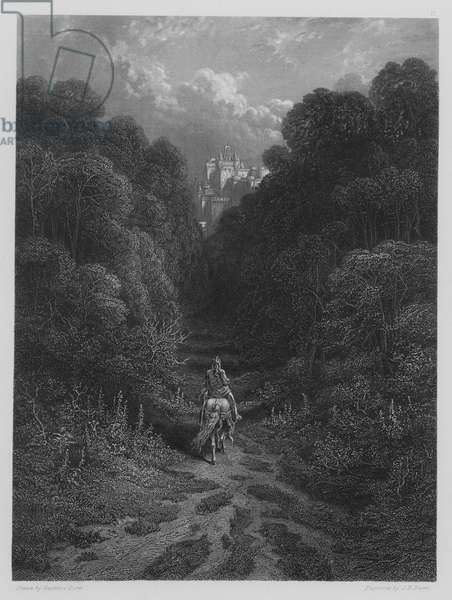 Lancelot approaching the Castle of Astolat (engraving)