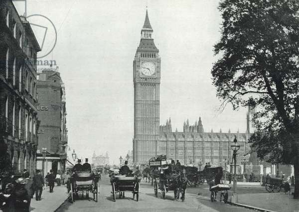 Bridge Street, Westminster, looking Across Westminster Bridge: The Clock Tower and Houses of Parliament (b/w photo)