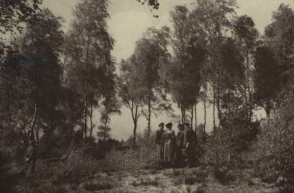 German emissaries conferring on Luneburg Heath before the surrender of their forces to the British on 4 May 1945, World War II (b/w photo)