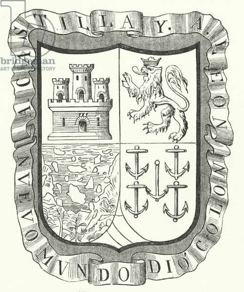 Coat of arms of Christopher Columbus (engraving)