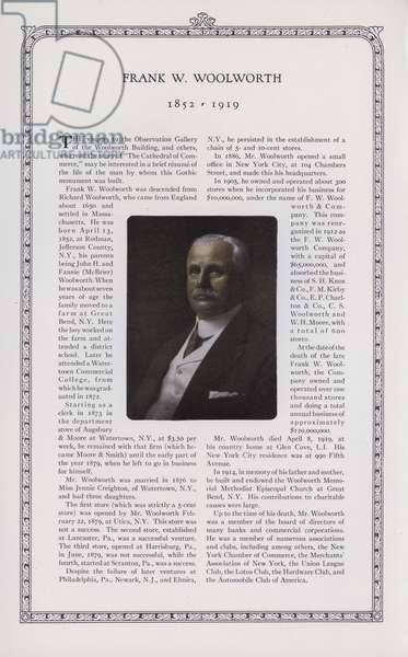 Frank W Woolworth (1852-1919) (b/w photo)