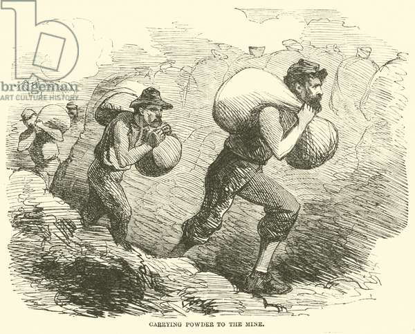 Carrying powder to the mine, July 1864 (engraving)