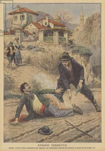 Dreadful vendetta in Oggebbio, Italy (colour litho)