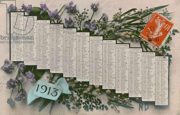 1913 calendar. Postcard sent in 1913.