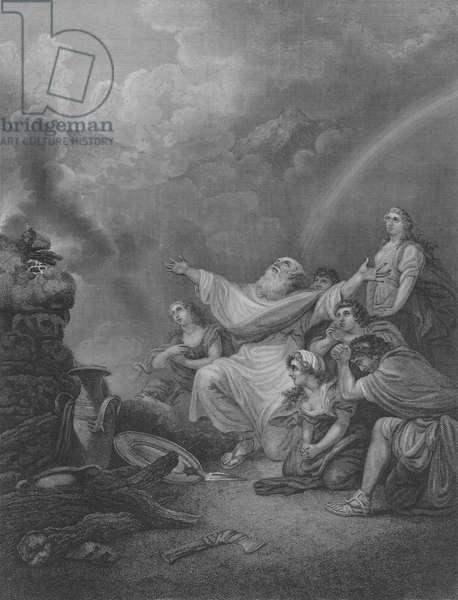 Noah's Sacrifice, Genesis 8, Verse 20-22 (engraving)