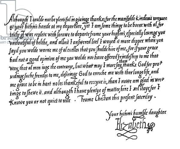 Letter from Queen Elizabeth I to Catherine Parr (engraving)