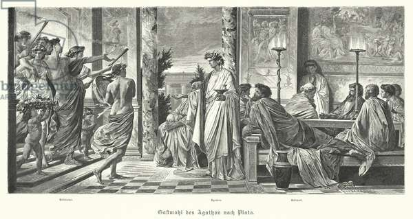Banquet of Agathon and Plato, Ancient Greece (engraving)