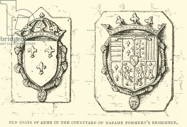 Old Coats of Arms in the Courtyard of Madame Pommery's Residence (engraving)