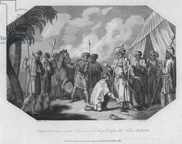 Despreaux taken by the Saracens and brought before the Sultan Saladine (engraving)