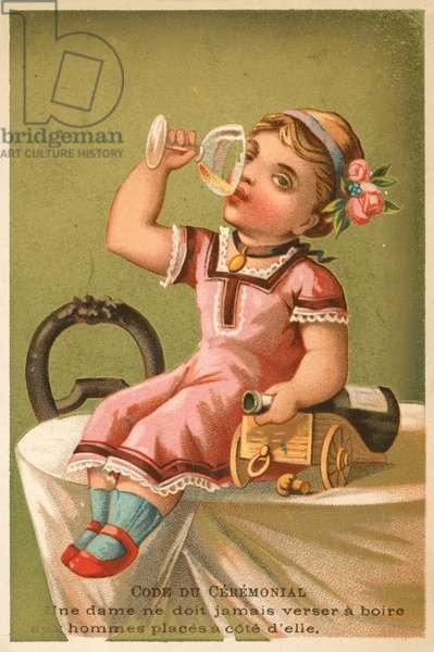Girl drinking champagne (chromolitho)