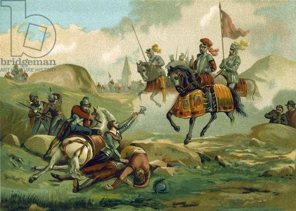 The Seigneur de Senlis taken prisoner by the Spanish, Mons, 1572 (chromolitho)