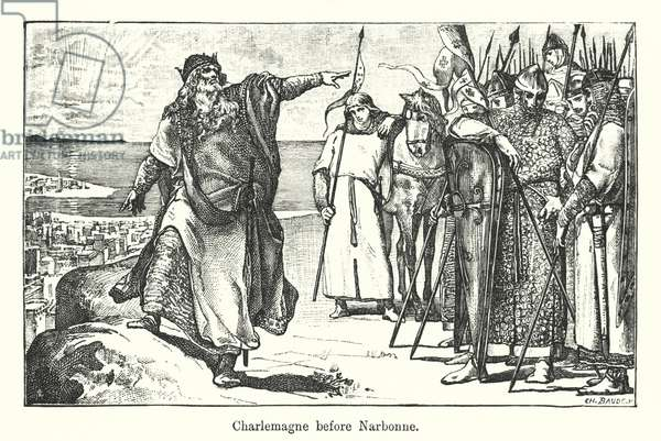 Charlemagne before Narbonne (engraving)