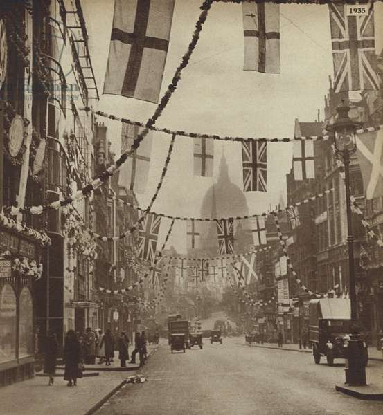 Flags on Fleet Street, London, celebrating the Silver Jubilee of King George V, 1935 (b/w photo)