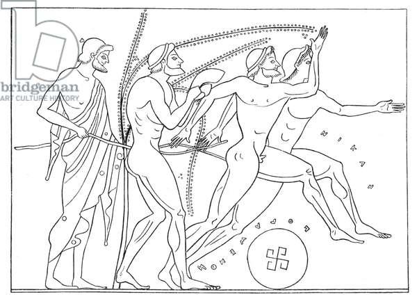 Greek runners, illustration for 'Olympia' by Adolf Boetticher, 1886 (digitally enhanced image)