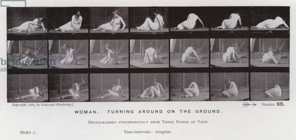 The Human Figure in Motion: Woman, turning around on the ground (b/w photo)