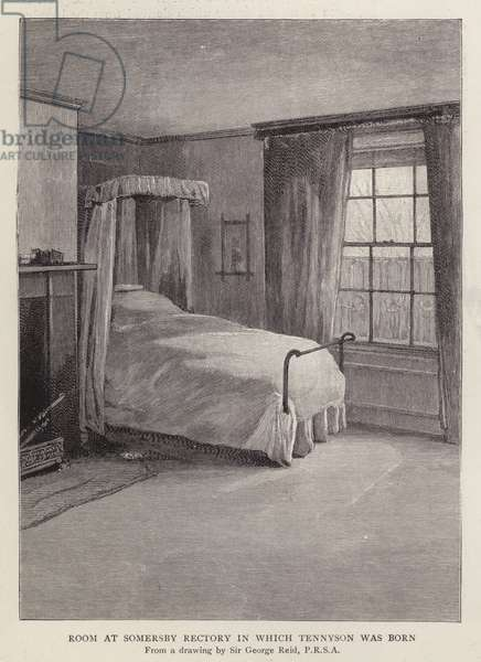 Room at Somersby Rectory, Lincolnshire, in which English poet Alfred, Lord Tennyson was born in 1809 (litho)