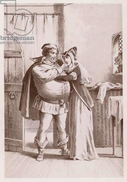 Falstaff and Mistress Ford, The Merry Wives Of Windsor (engraving)