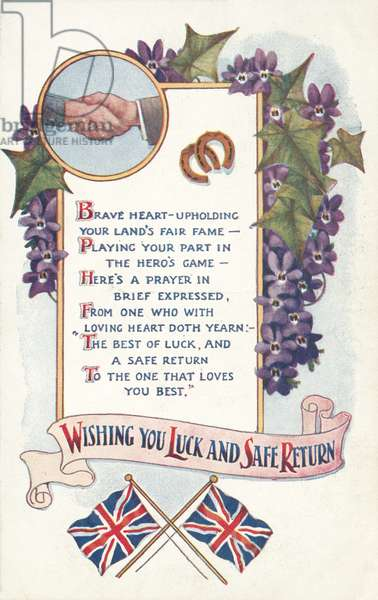 Good luck and safe return, greetings card (colour litho)