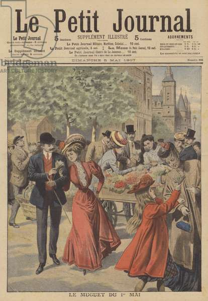 Buying lilies of the valley from a Parisian flower stall on May Day (colour litho)