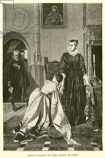 Death warrant of Mary Queen of Scots (engraving)