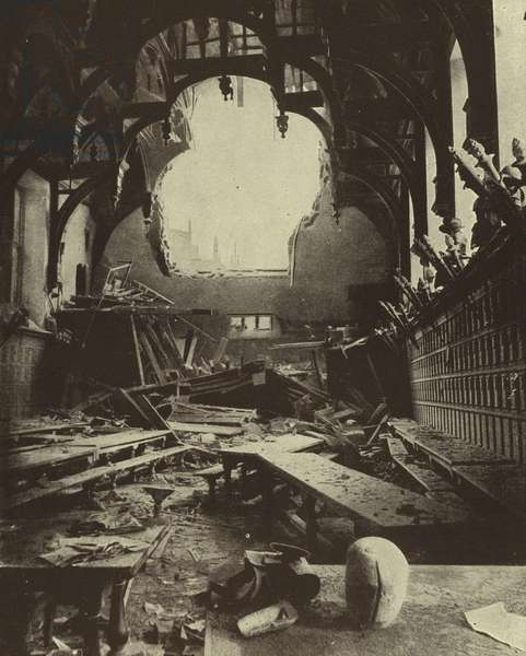 Ruins of Middle Temple Hall, London, after a German air raid during the Blitz, World War II, 16 October 1940 (b/w photo)