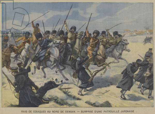 The Russo-Japanese War: Cossacks surprising a Japanese patrol in a raid north of Gensan, Korea (colour litho)