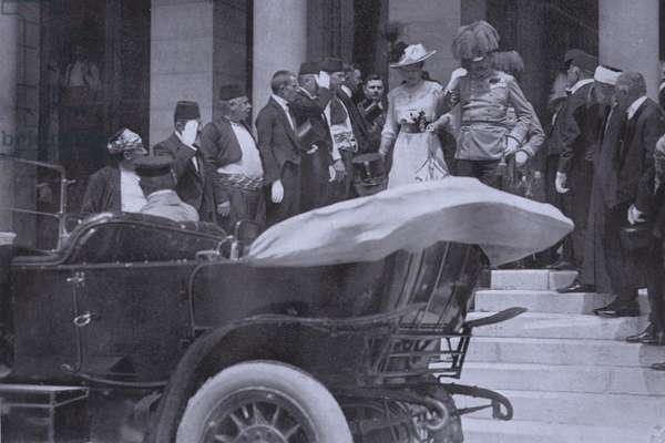 Archduke Franz Ferdinand of Austria and his wife, Sophie, Duchess of Hohenberg leaving Sarajevo Town Hall five minutes before their assassination, 28 June 1914 (b/w photo)