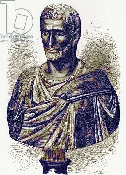 Brutus, bust in the Capitol, illustration from 'History of Rome' by Victor Duruy, published 1884 (digitally enhanced image)