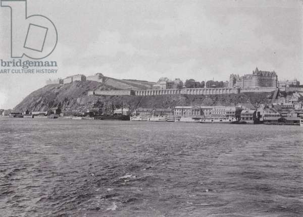 Citadel, Dufferin Terrace, and the CPR's Magnificent Chateau Frontenac, Quebec (b/w photo)