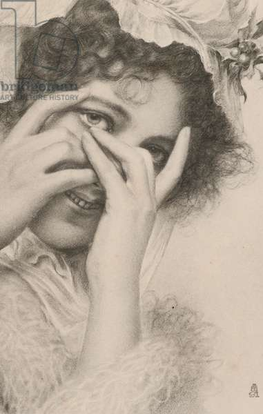 Portrait of a woman hiding behind her hands (litho)