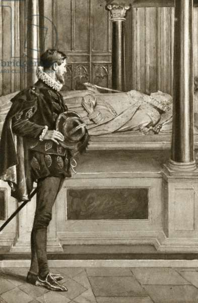 Sir Walter Raleigh, released from the Tower of London, pays homage at the tomb of Queen Elizabeth I (litho)