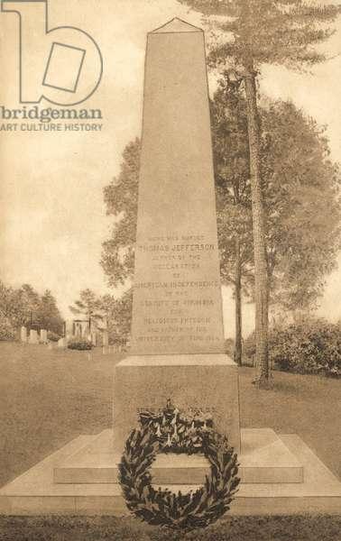 Tomb of Thomas Jefferson (b/w photo)