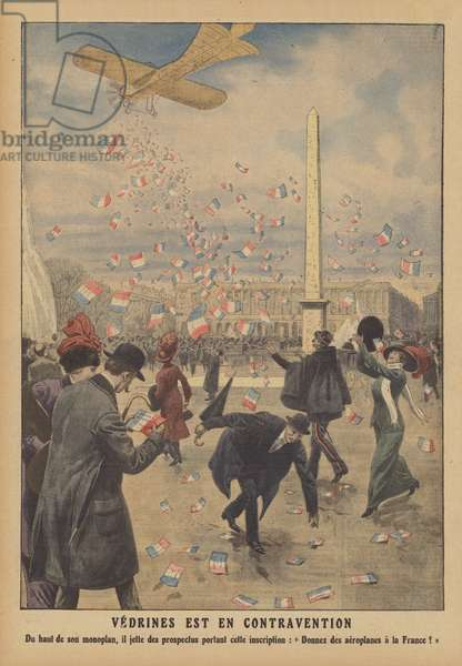 French aviator Jules Vedrines dropping leaflets from his plane over the Place de la Concorde in Paris (colour litho)