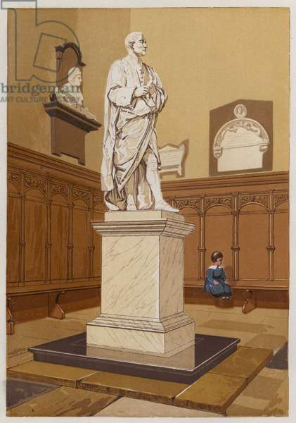 Statue of Sir Isaac Newton at Cambridge (colour litho)
