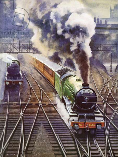 The Flying Scotsman pulls out of King's Cross on its non-stop run to Waverley Station, Edinburgh (colour litho)